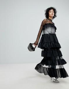 Ярусное сетчатое платье с боковым разрезом The Ragged Priest Black Label - Черный