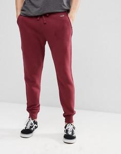 Бордовые флисовые джоггеры с манжетами и логотипом Hollister - Красный