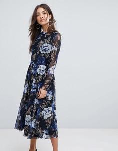 Сетчатое расклешенное платье с цветочным принтом Y.A.S - Мульти