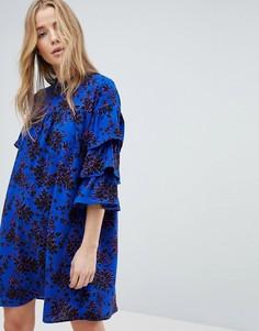 Платье с высоким воротом и оборками на рукавах Only - Мульти