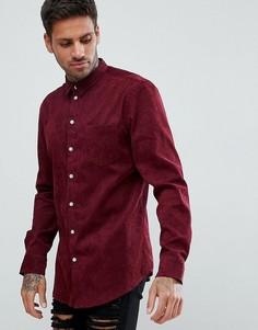 Бордовая вельветовая рубашка boohooMAN - Красный