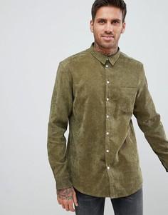 Вельветовая рубашка цвета хаки boohooMAN - Зеленый