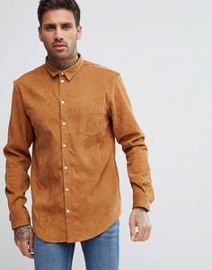 Светло-коричневая вельветовая рубашка boohooMAN - Рыжий