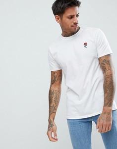 Белая футболка с вышитой розой boohooMAN - Белый