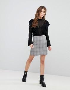 Клетчатая мини-юбка New Look - Серый