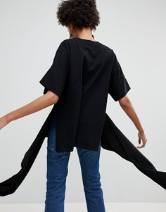 Трикотажная футболка с асимметричным краем ASOS WHITE - Черный
