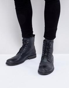 Черные потертые ботинки в стиле милитари River Island - Черный