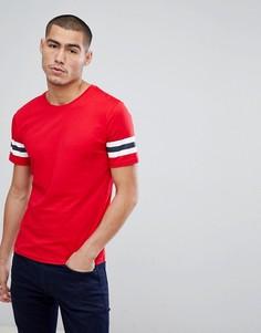 Длинная футболка с полосками на рукавах Only & Sons - Красный