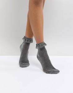 Блестящие носки с оборками Monki - Черный
