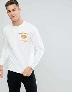 Свитшот с надписью Rebel Youth на груди и спине Only & Sons - Белый