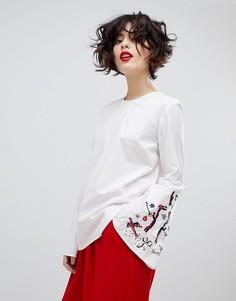 Блузка с длинными рукавами и вышивкой Essentiel Antwerp Paradise - Белый