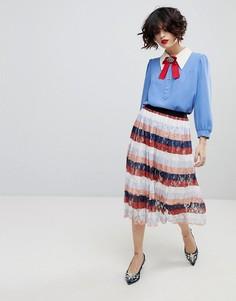 Плиссированная юбка миди Essentiel Antwerp Palms - Розовый