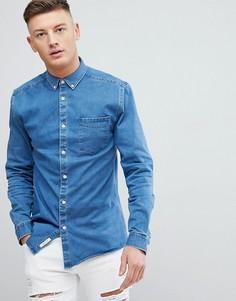 Обтягивающая джинсовая рубашка River Island - Синий