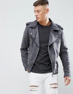 Серая байкерская куртка из искусственной замши River Island - Серый