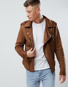 Коричневая байкерская куртка из искусственной замши River Island - Коричневый