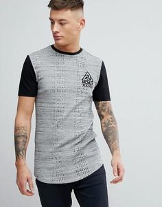 Серая обтягивающая футболка в рубчик с принтом River Island - Серый