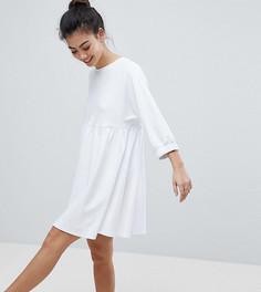 Хлопковое свободное платье с эластичными манжетами ASOS PETITE - Белый