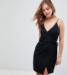 Платье мини на бретельках с запахом ASOS PETITE - Черный