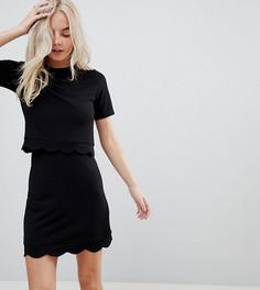 Платье мини с укороченным топом и фигурным краем ASOS PETITE - Черный
