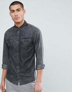 Узкая джинсовая рубашка с эффектом кислотной стирки Only & Sons - Серый