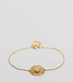 Тонкий браслет-цепочка из позолоченного серебра с камнем ASOS - Золотой