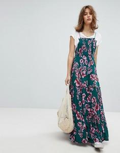 Платье макси с цветочным принтом Free People - Зеленый