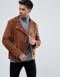 Светло-коричневая замшевая байкерская куртка River Island - Рыжий