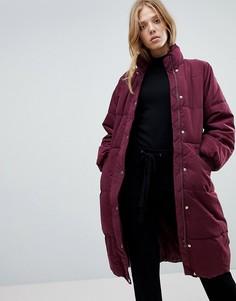 Длинная дутая куртка Vila - Коричневый