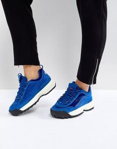 Синие бархатные кроссовки Fila Disruptor - Синий