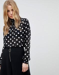 Присборенная блузка в горошек New Look - Черный