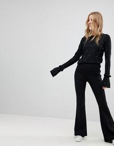 Расклешенные брюки из крепа New Look - Черный