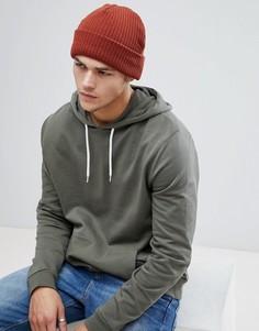 Вязаная шапка-бини рыжего цвета New Look - Оранжевый