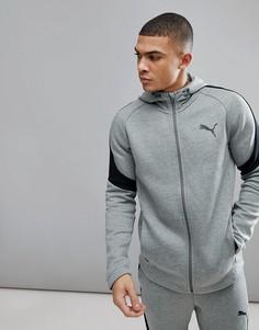 Худи серого цвета на молнии Puma Running Evostripe Move 59491503 - Серый