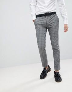 Серо-синие супероблегающие брюки в клетку River Island - Серый