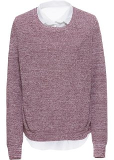 Пуловер с блузочной вставкой (кленово-красный меланж/белый) Bonprix