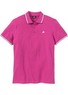 Футболка поло стандартного покроя (ярко-розовый) Bonprix