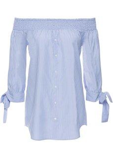 Блузка с вырезом-кармен (синий/белый в полоску) Bonprix