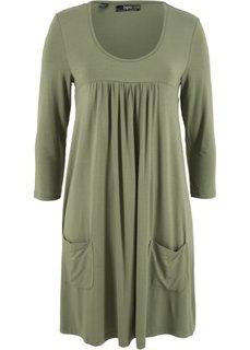 Трикотажное платье с рукавами 3/4 (серо-зеленый) Bonprix