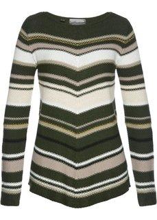 Пуловер асимметричного покроя (темно-оливковый/разные цвета) Bonprix