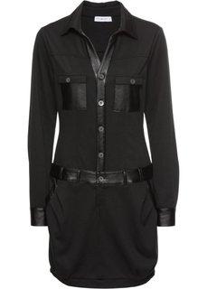 Платье с имитацией кожи (черный) Bonprix