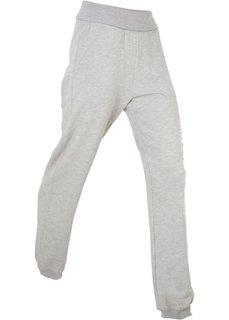 Трикотажные брюки с отворачивающимся поясом (светло-серый меланж) Bonprix
