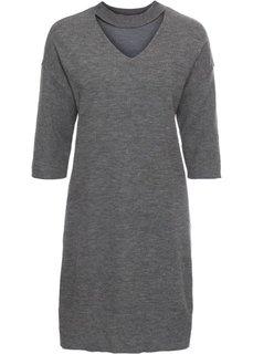 Платье вязаное (серый меланж) Bonprix