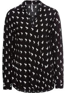 Блузка с запахом (черный/белый) Bonprix
