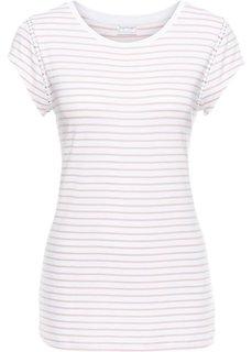 Футболка в полоску с коротким рукавом (белый/винтажно-розовый) Bonprix