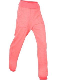 Трикотажные брюки с отворачивающимся поясом (розовый неон) Bonprix