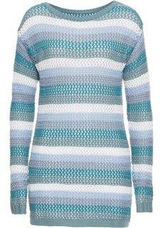 Пуловер полосатый ажурный с длинным рукавом (синий в полоску) Bonprix