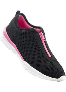 Сникерсы с гибкой стелькой (черный/ярко-розовый) Bonprix