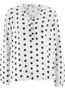 Блузка с принтом и линией пуговиц (белый в горошек) Bonprix