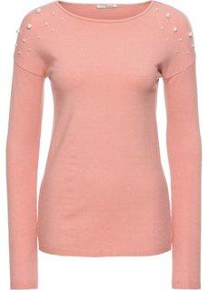 Пуловер с аппликацией из бусин (ярко-розовый) Bonprix
