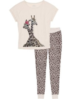Пижама (бежевый/коричневый с рисунком) Bonprix